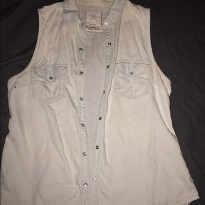 Light denim button down sleeveless shirt